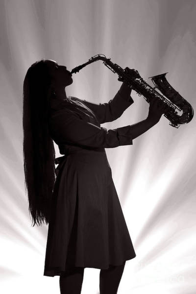 Photograph - Silhouette Saxophone Girl In Sepia 3208.01 by M K Miller