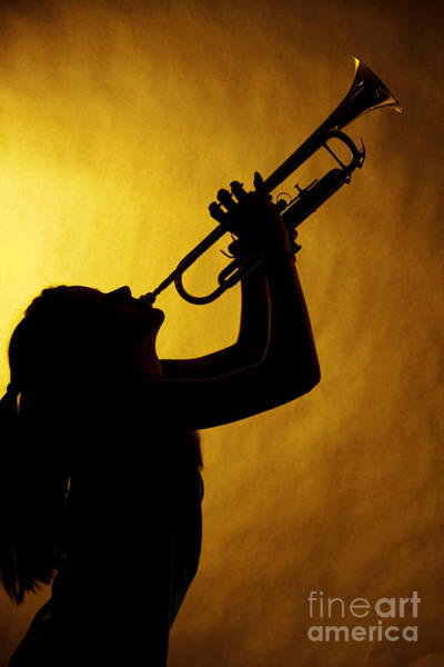 Photograph - Silhouette Trumpet Music Instrument And Girl In Color 3016.02 by M K Miller