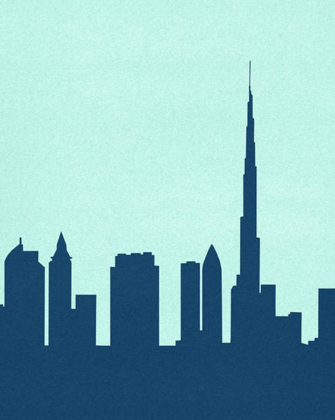 Arab Digital Art - Silhouetted Skyline Of Burj Khalifa by Marcus Butt