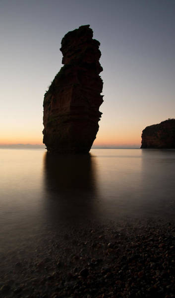 Photograph - Silhouetted Stack At Ladram Bay by Pete Hemington