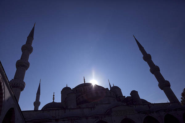 Photograph - Silhouettes Of Blue Mosque Istanbul Turkey by Raimond Klavins