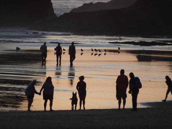 Silhouettes On The Beach Art Print