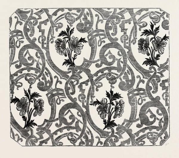 Manchester Drawing - Silk Damask by Houldsworth, Manchester, English, 19th Century
