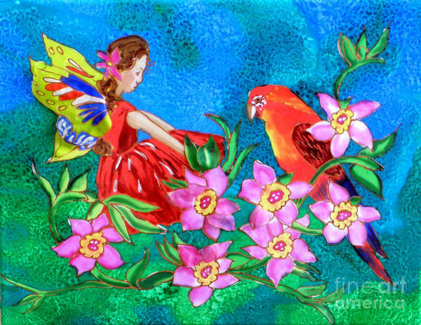 Silk Fairy And Parrot Art Print