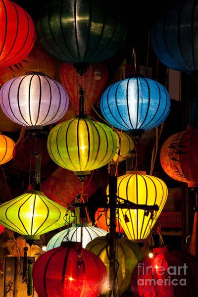Chinese New Year Photograph - Silk Lanterns In Hoi An City Vietnam by Fototrav Print