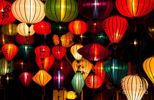 Chinese New Year Photograph - Silk Lanterns In Vietnam by Fototrav Print
