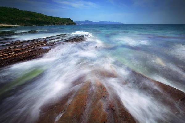 Hongkong Photograph - Silky Wave And Ancient Rock 5 by Afrison Ma