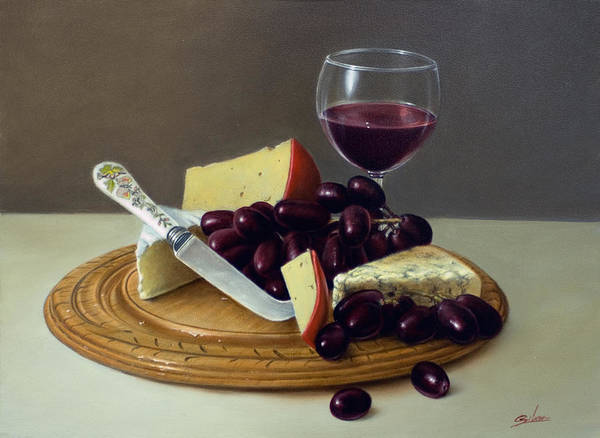 Painting - Sill Life Cheese Board by John Silver