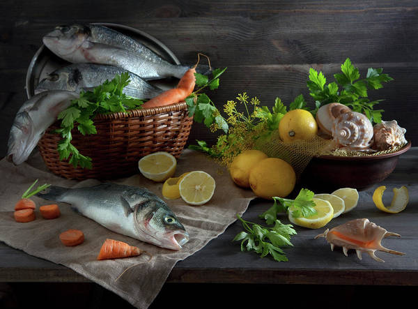 Lemon Photograph - Sill Life With Fish, Lemon And Shell by I Love It When You Smile