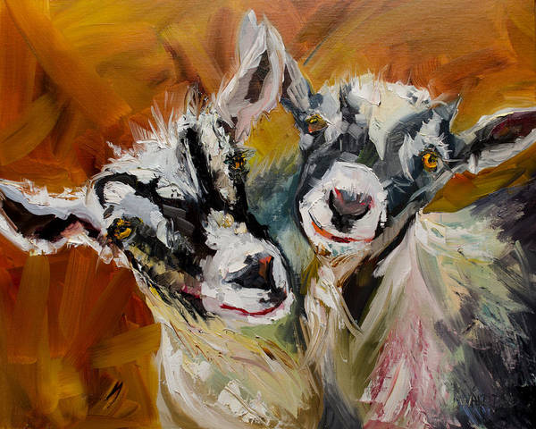 Goat Painting - Silly Kids by Diane Whitehead