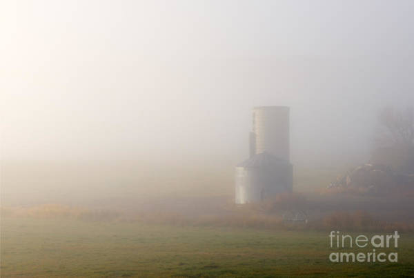 Silo Photograph - Silo In The Fog by Mike  Dawson