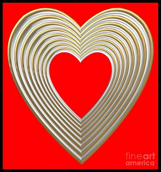Digital Art - Silver And Gold Heart On Red by Rose Santuci-Sofranko