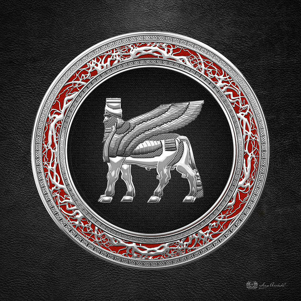Amulet Digital Art - Silver Babylonian Winged Bull  by Serge Averbukh