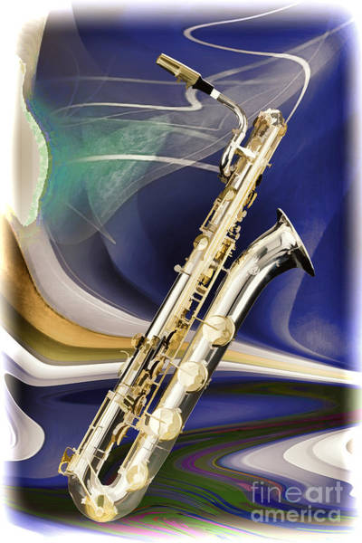 Painting - Silver Baritone Saxophone Painting Photograph 3458.02 by M K Miller