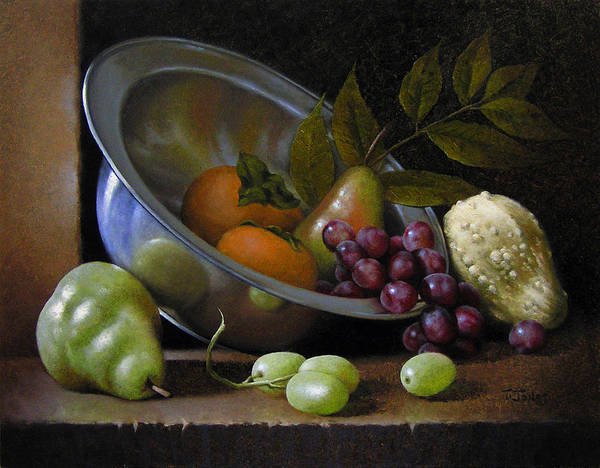 Persimmon Painting - Silver Bowl by Timothy Jones