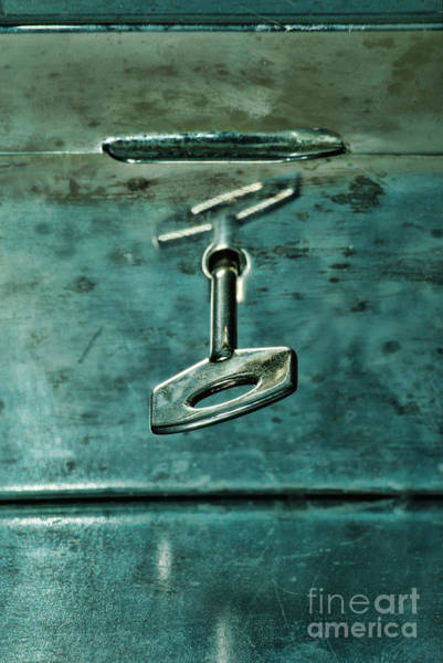 Unopened Wall Art - Photograph - Silver Box With Key In The Lock by HD Connelly