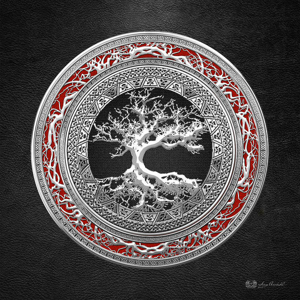 Digital Art - Silver Celtic Tree Of Life by Serge Averbukh