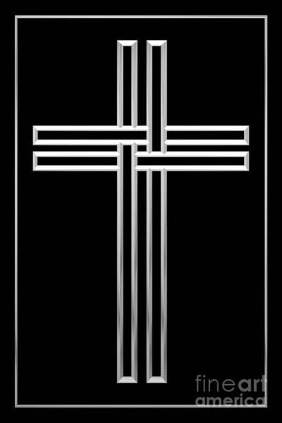 Digital Art - Silver Cross 1 by Rose Santuci-Sofranko