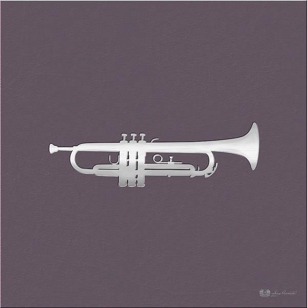 Digital Art - Silver Embossed Trumpet On Rosy Brown Background by Serge Averbukh
