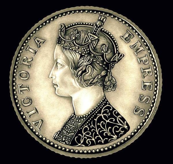 Drawing - Silver Empress Victoria Black by Fred Larucci