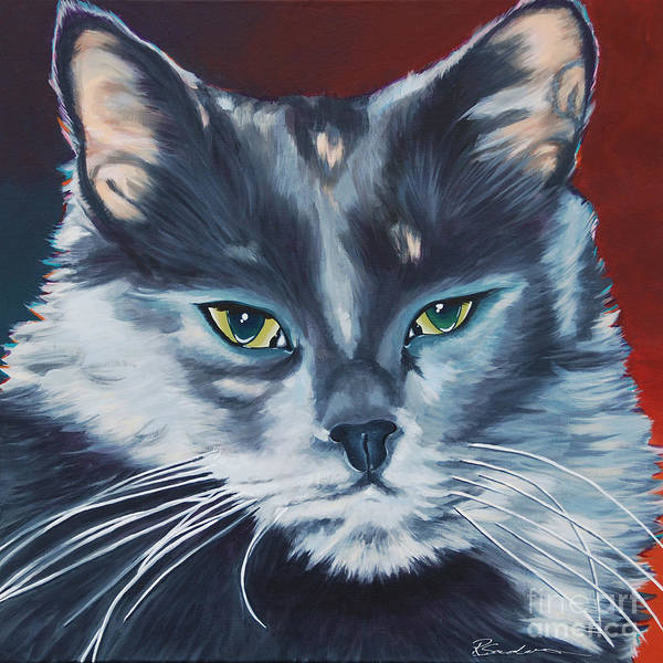 Painting - Silver Grey Cat Portrait by Robyn Saunders