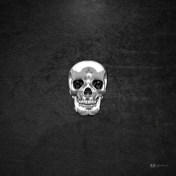 Digital Art - Silver Human Skull On Black Leather by Serge Averbukh