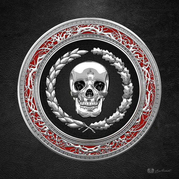Digital Art - Silver Human Skull On Black   by Serge Averbukh