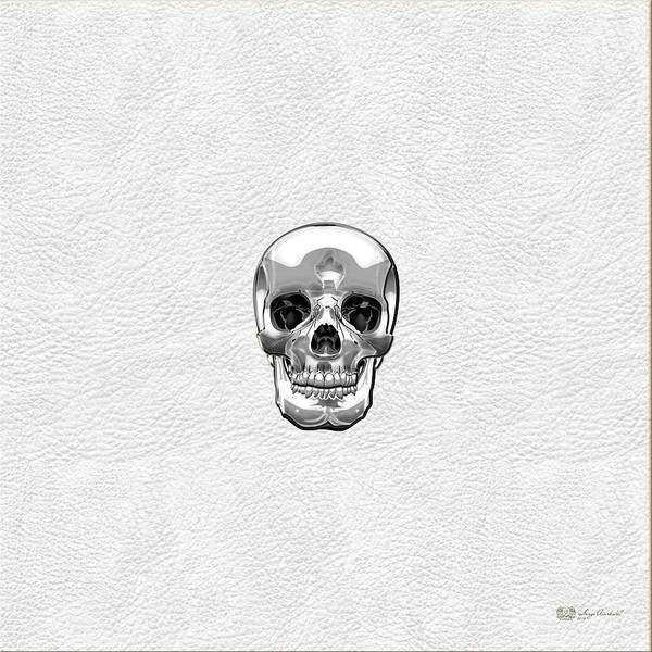 Digital Art - Silver Human Skull On White Leather by Serge Averbukh