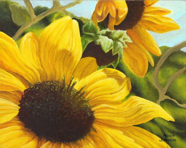 Painting - Silver Leaf Sunflowers by Adam Johnson