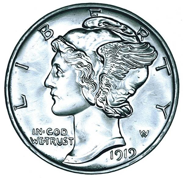 Wall Art - Drawing - Silver Mercury Dime by Fred Larucci