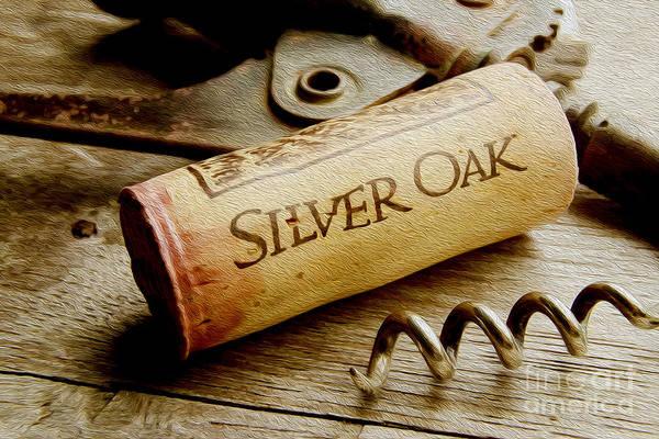 Wine Barrel Wall Art - Mixed Media - Silver Oak Cork Painting by Jon Neidert