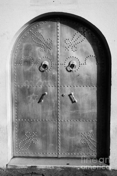 Hammamet Photograph - Silver Painted Decorated Patterned Metal Doors At Entrance To House Hammamet Tunisia by Joe Fox