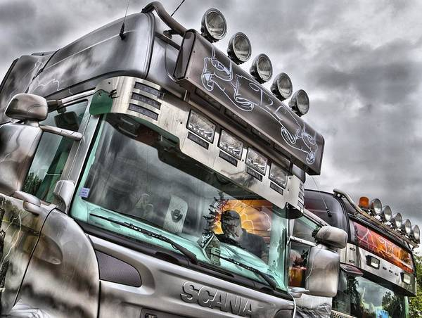 Freightliner Wall Art - Photograph - Silver Scania Angled by Mick Flynn