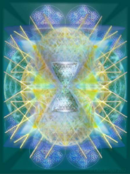 Digital Art - Silver Torquoise Bright Chali-cell-ring Flower Of Life Matrix by Christopher Pringer