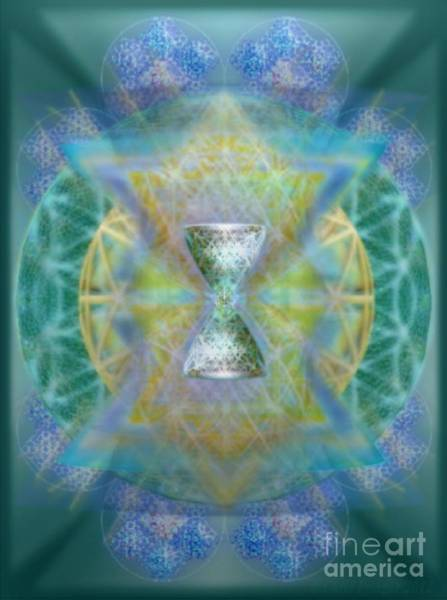 Digital Art - Silver Torquoise Chalicell Ring Flower Of Life Matrix II by Christopher Pringer