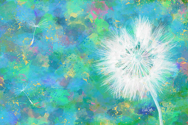 Wall Art - Digital Art - Silverpuff Dandelion Wish by Nikki Marie Smith