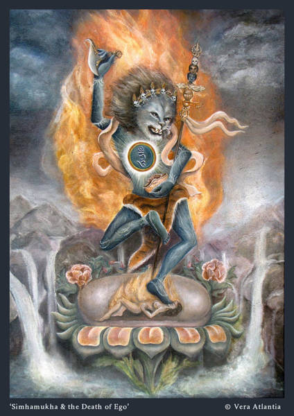 Dzogchen Painting - Simhamukha And The Death Of Ego by Vera Atlantia