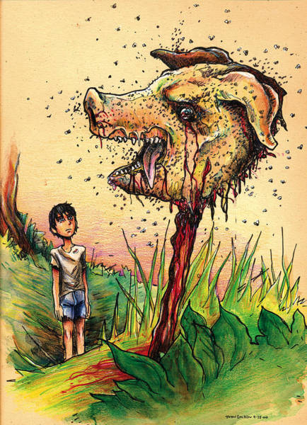 Mixed Colors Drawing - Simon And The Beast by John Ashton Golden