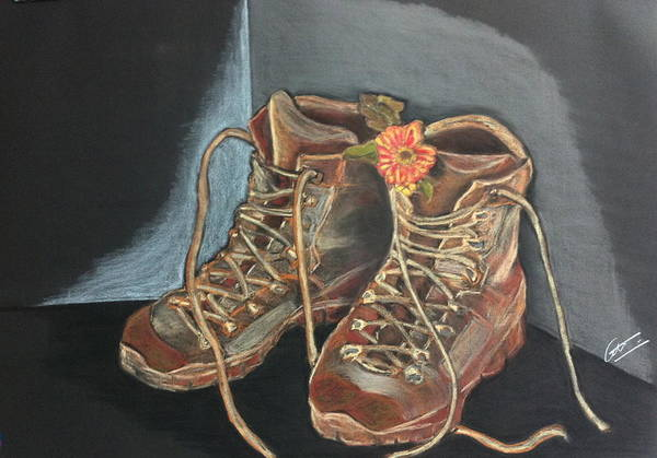 Nomad Drawing - Simon's Boots by Cristel Mol-Dellepoort