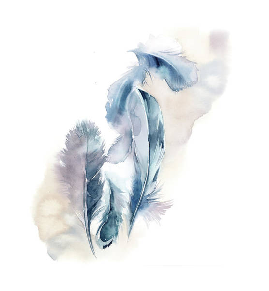 Wall Art - Painting - Simple Feathers II by Sophia Rodionov