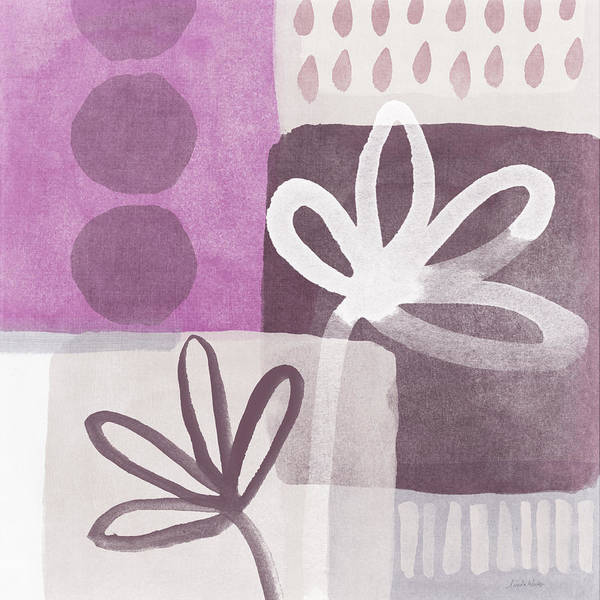 Orchid Mixed Media - Simple Flowers- Contemporary Painting by Linda Woods