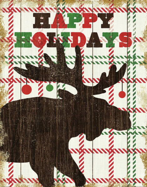 White Christmas Painting - Simple Living Holiday Moose by Michael Mullan