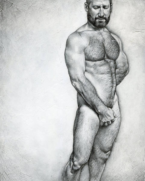 Male Nude Drawing - Simplicity 3 by Chris Lopez