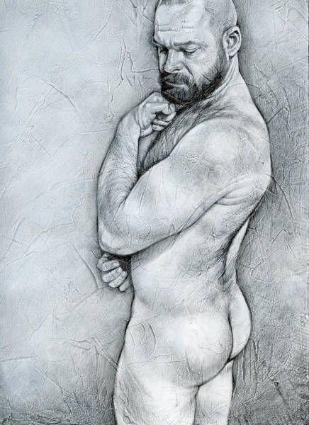 Male Nude Drawing - Simplicity 4 by Chris Lopez