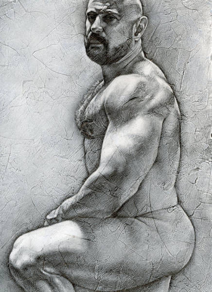 Male Nude Drawing - Simplicity 5 by Chris Lopez