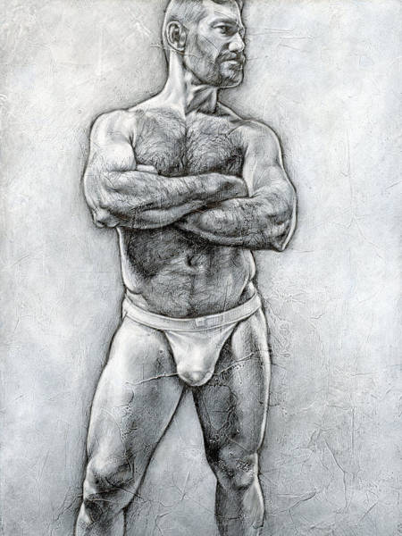 Male Nude Drawing - Simplicity 6 by Chris Lopez