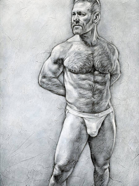 Male Nude Drawing - Simplicity 7 by Chris Lopez