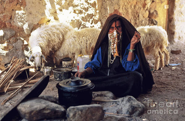 Photograph - Sinai Bedouin Woman In Her Kitchen by Heiko Koehrer-Wagner