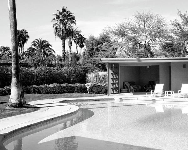 Palm House Photograph - Sinatra Pool And Cabana Bw Palm Springs by William Dey