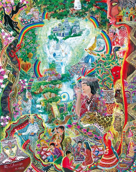 Art Print featuring the painting Sinchi Puca Lupuna by Pablo Amaringo